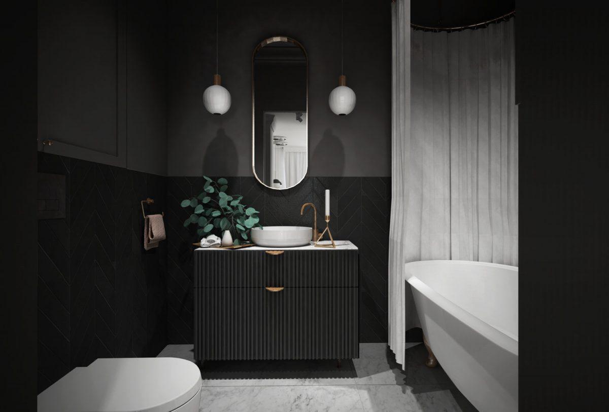 Złota armaturze w czarnej łazience wg projektu Justyny Wasiluk (Home And Wood)