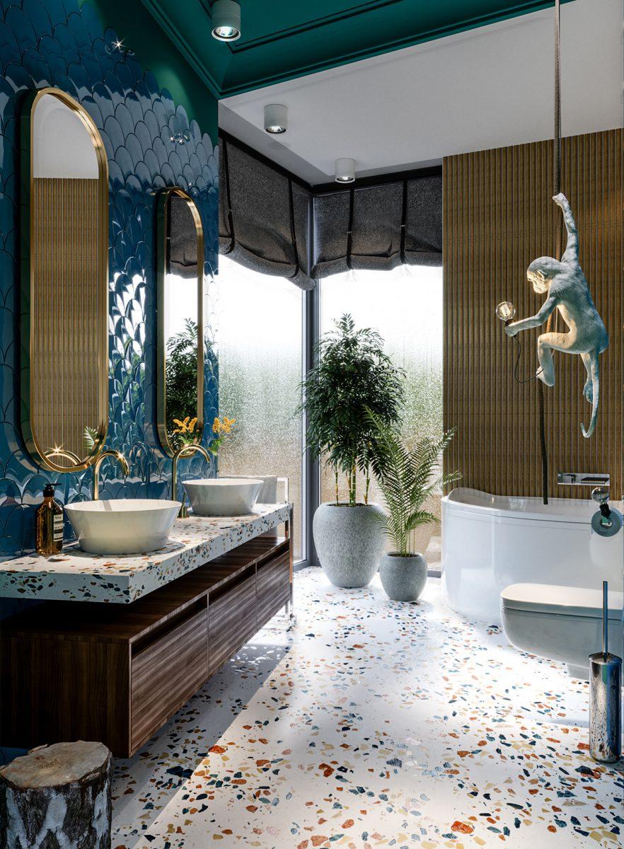 Projekt łazienki z lastryko