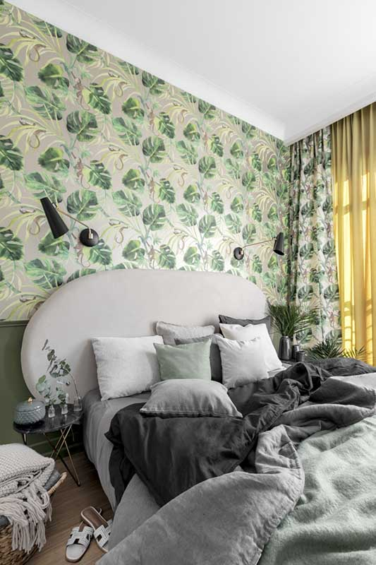 Sypialnia z motywem urban jungle (proj. JT Grupa)