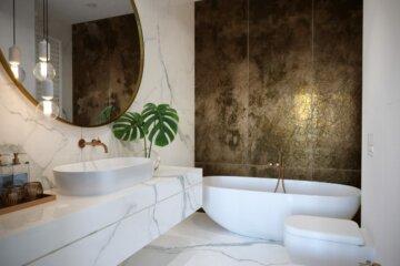 biało - złota łazienka