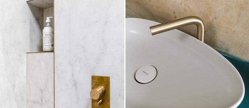 Złote akcenty w łazience (proj. Magma, zdj. Fotomohito)