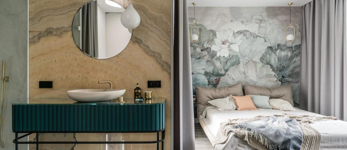 Sypialnia otwarta na salon kąpielowy (proj. Magma, zdj. Fotomohito)