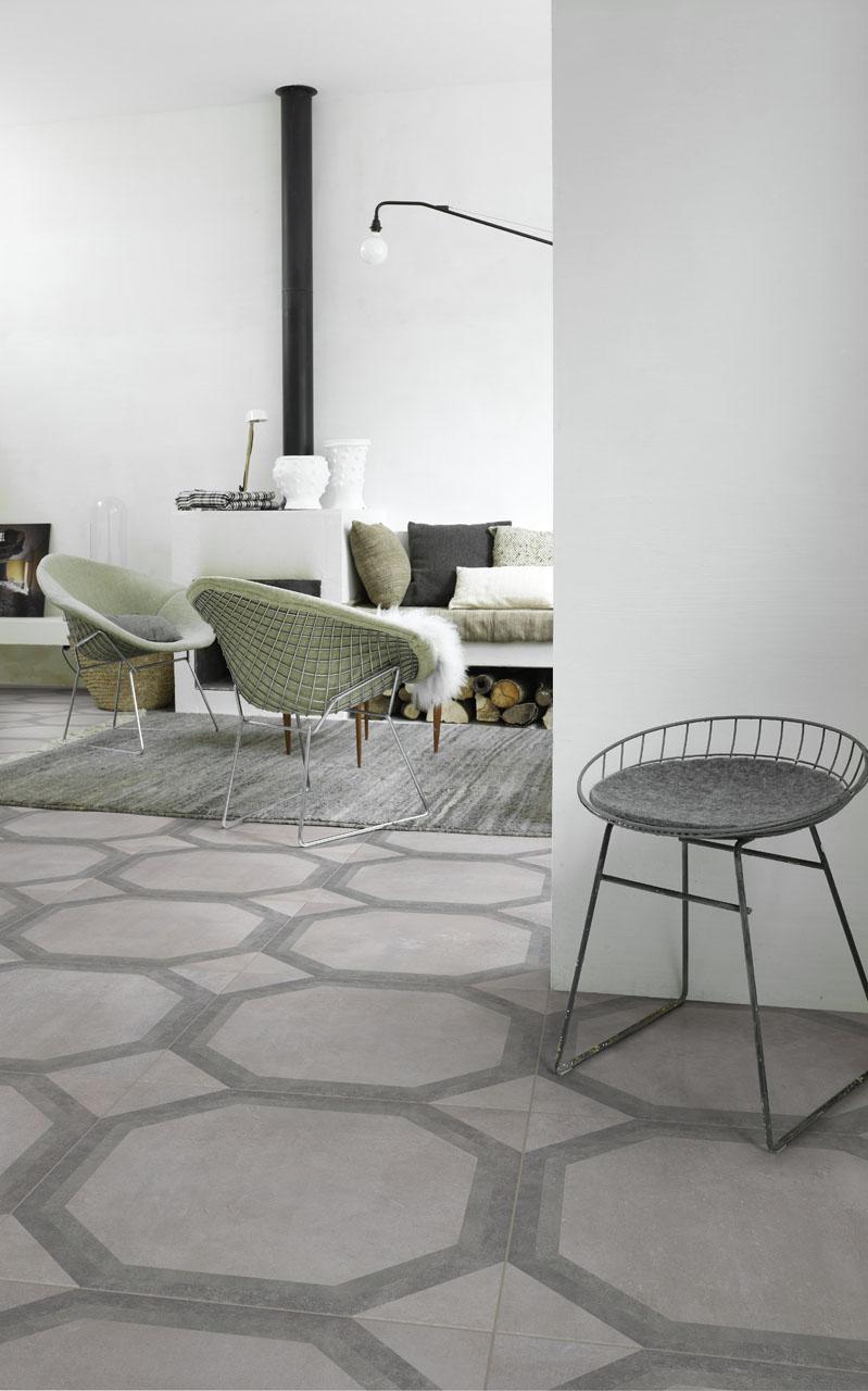 Płytki heksagonalne w salonie z linii Boulevard Metropolitan od Lea Ceramiche