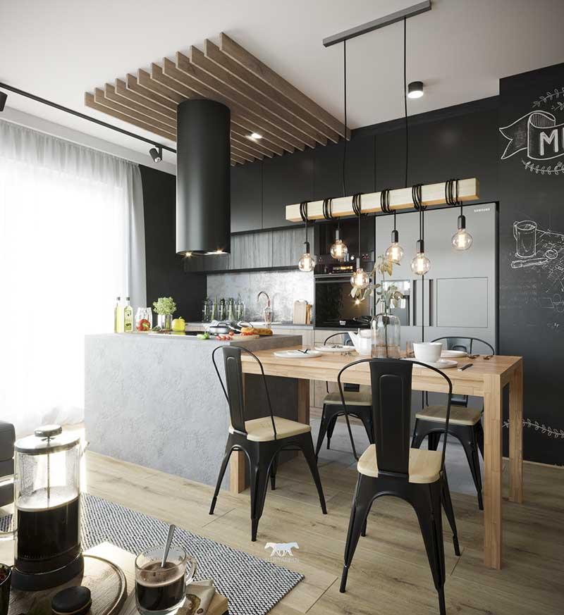 Bluetarpan projekt mieszkania  kuchnia z wyspą i stołem