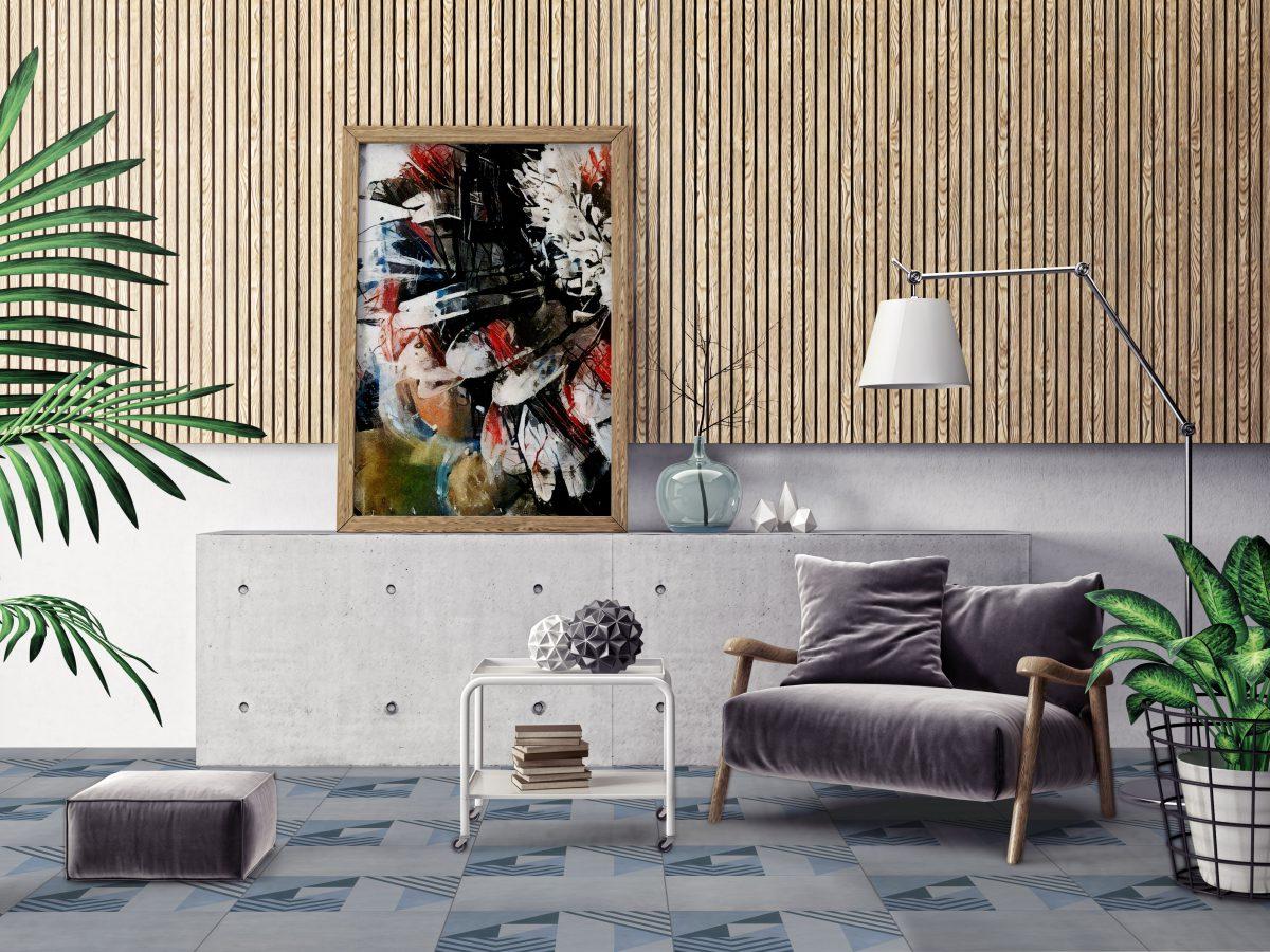 Wzorzyste płytki w salonie na podłodze od Heralgi (marka dostępna w naszych showroomach)