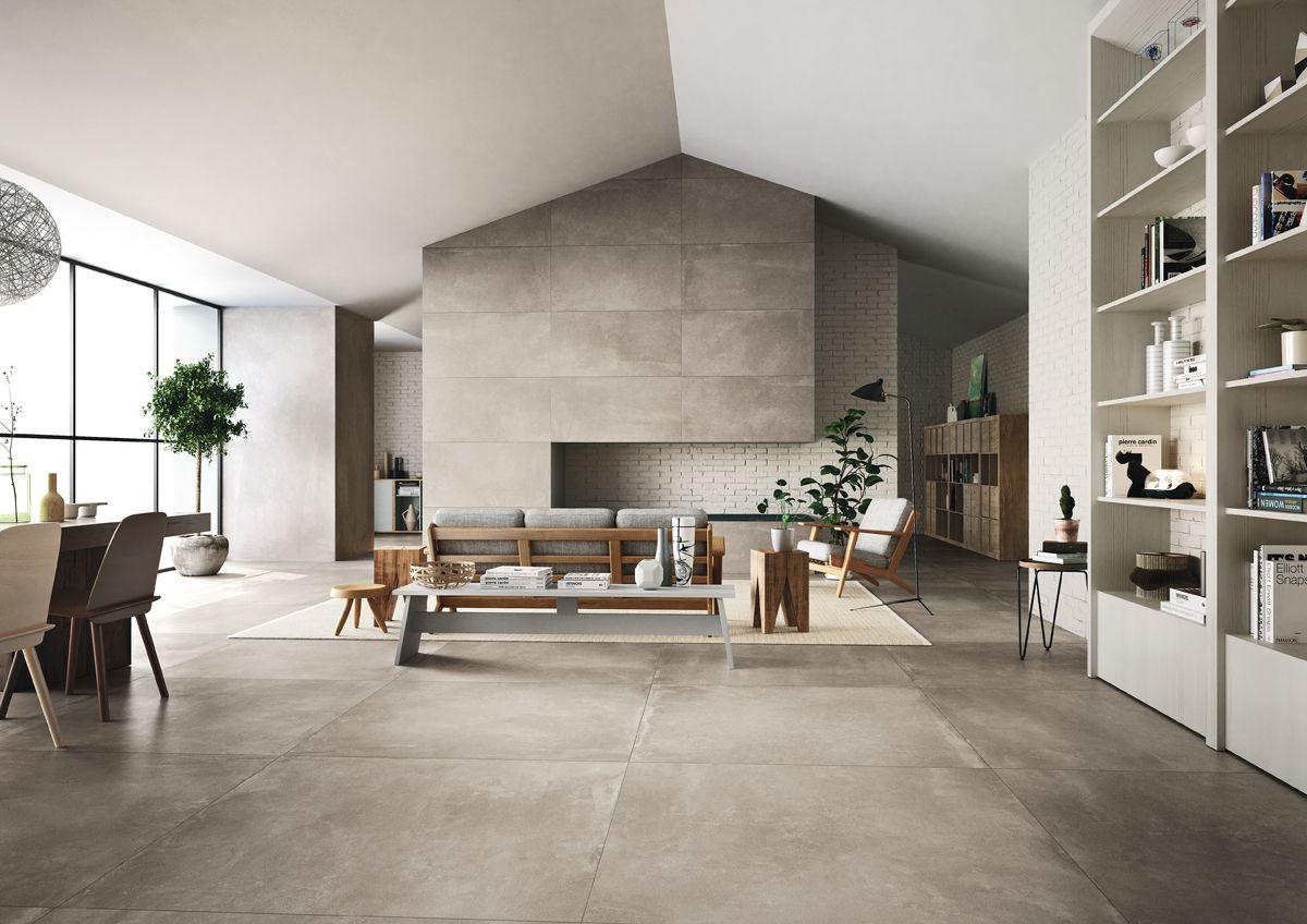 Płytki imitujące beton w salonie z linii Azuma od Imoli