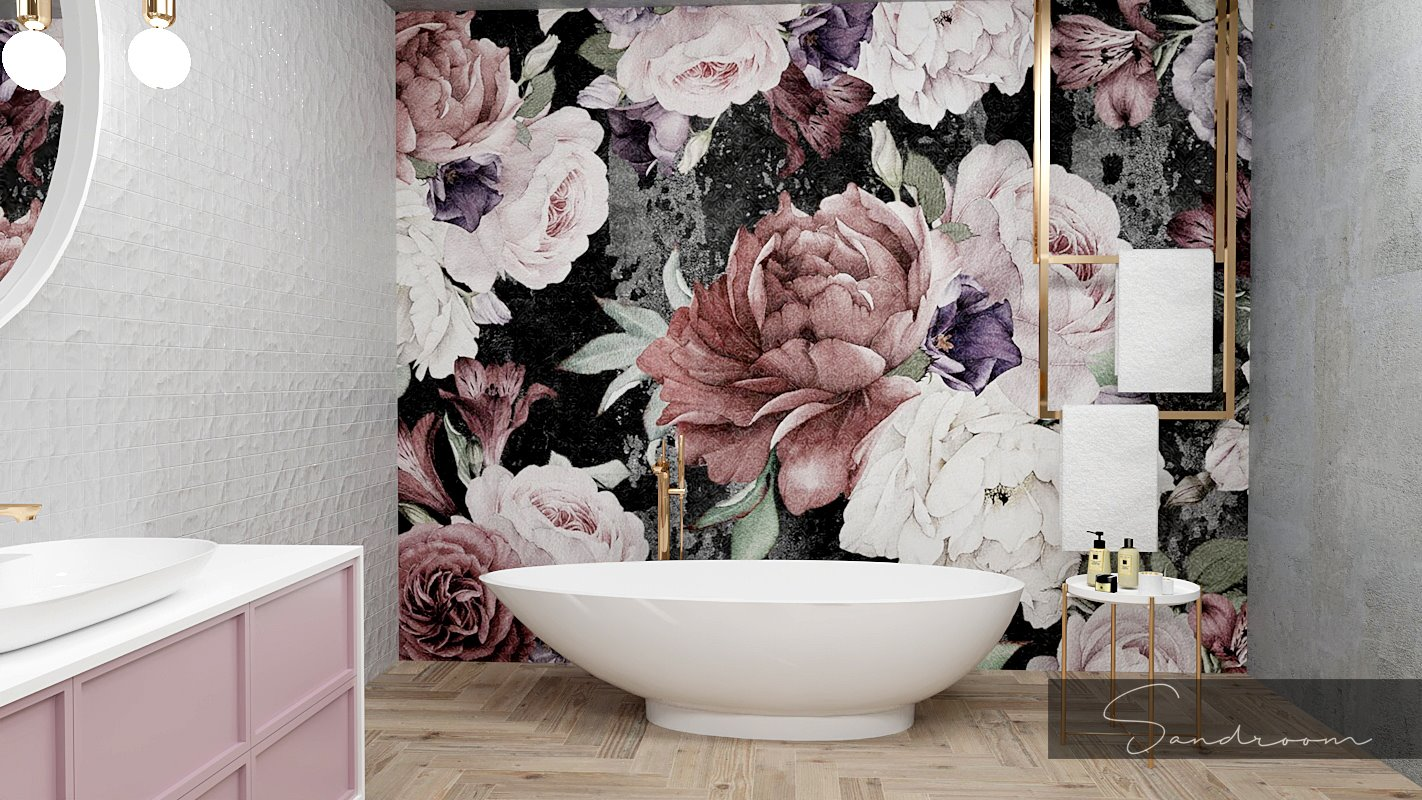 Projekt różowej łazienki | Sandrom