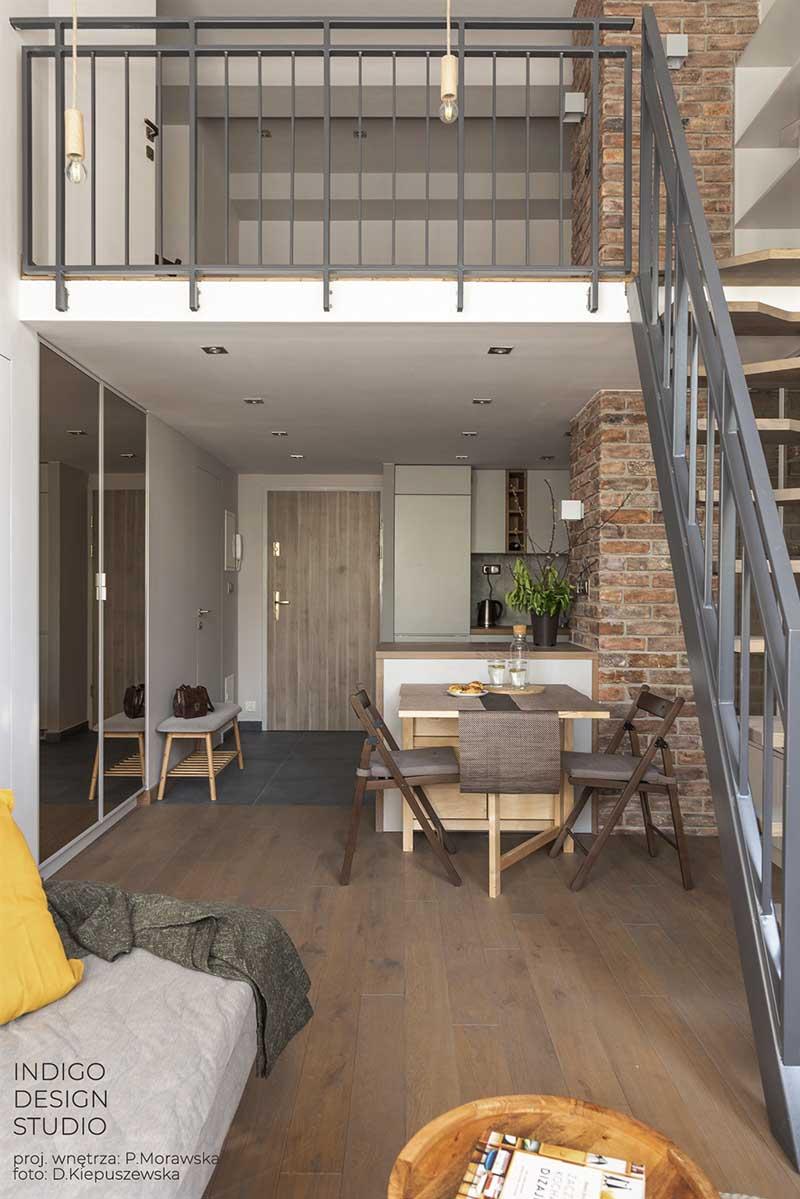 Potencjał pofabrycznej przestrzeni – loftowe wnętrze projekt Indigo Design Studio.