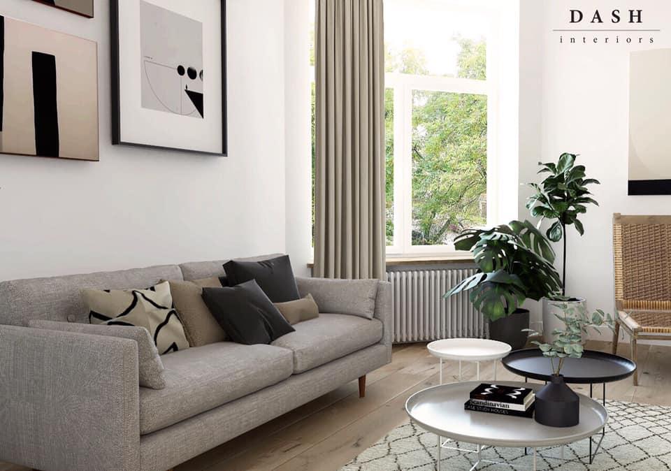 Projekt jasnego przytulnego salonu | Pracownia Dash Interiors