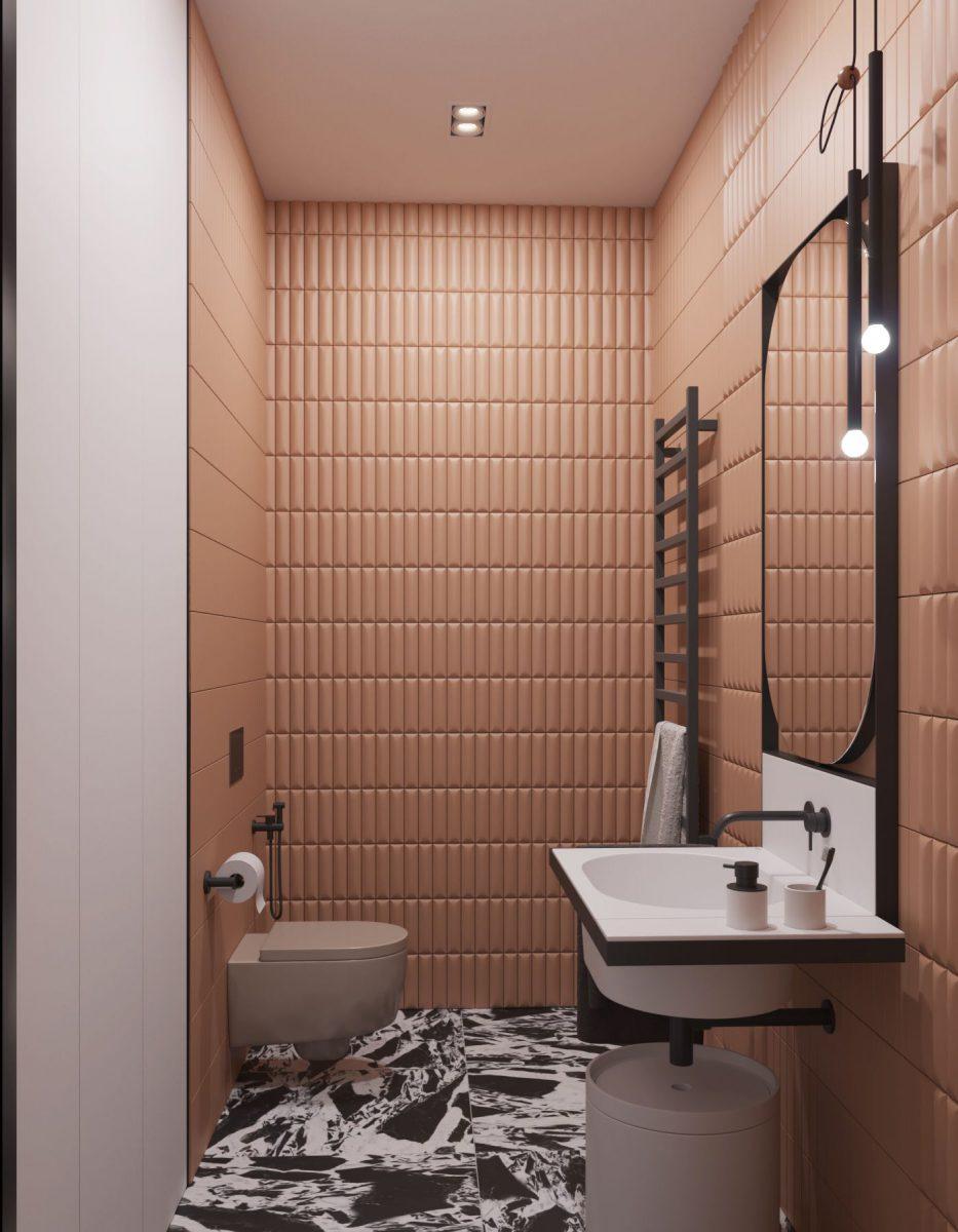 Projekt łazienki z płytkami 41zero42, które są dostępne w naszych showroomach