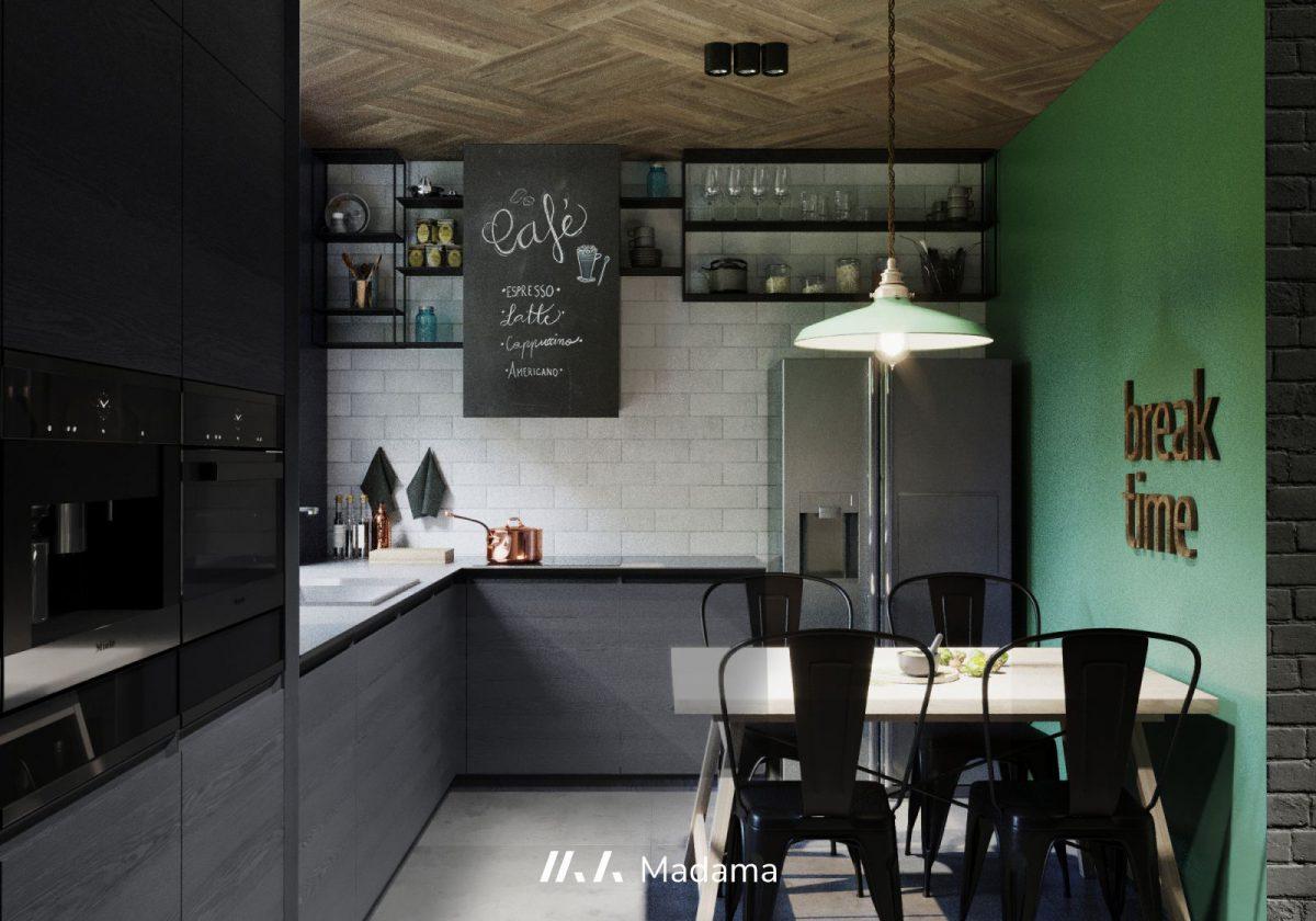 Ściana w kolorze Neo Mint w industrialnej kuchni | proj. Madama