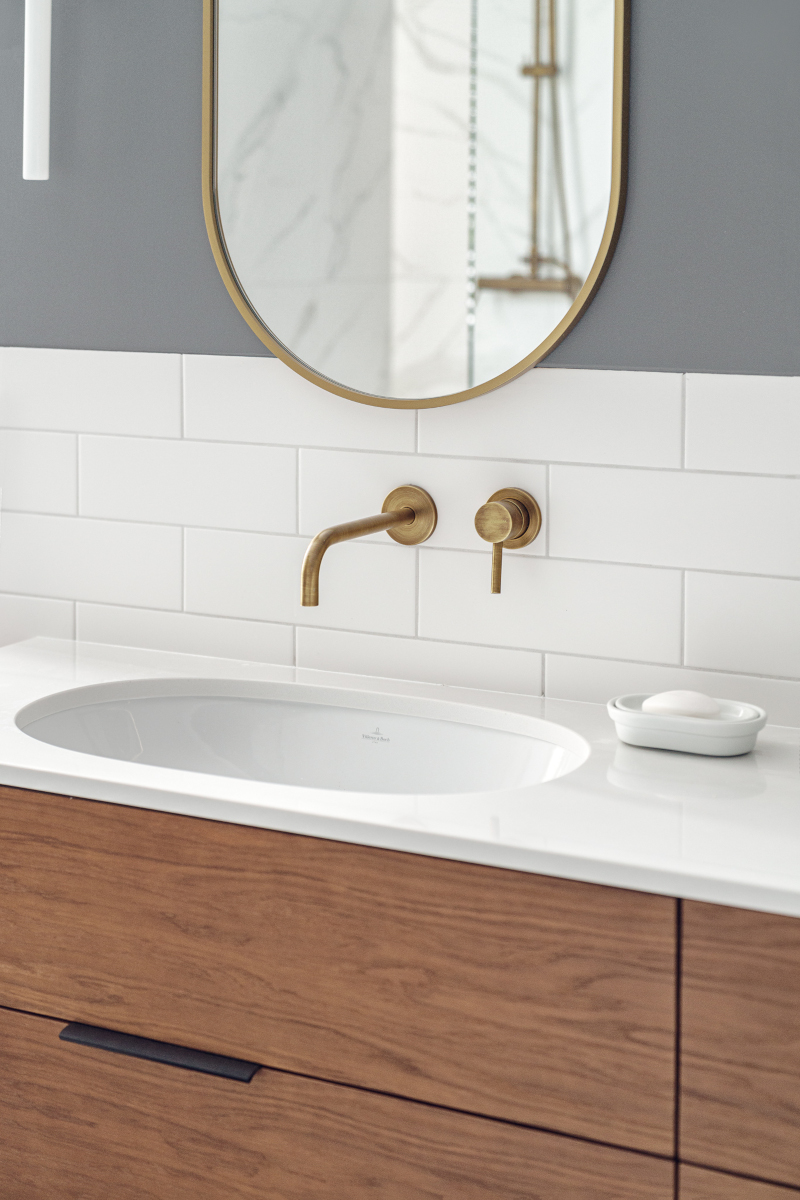 Stylowa strefa umywalkowa z płytkami marki Marazzi z showroomu Internity Home (proj. luumo, zdj. Tom Kurek)