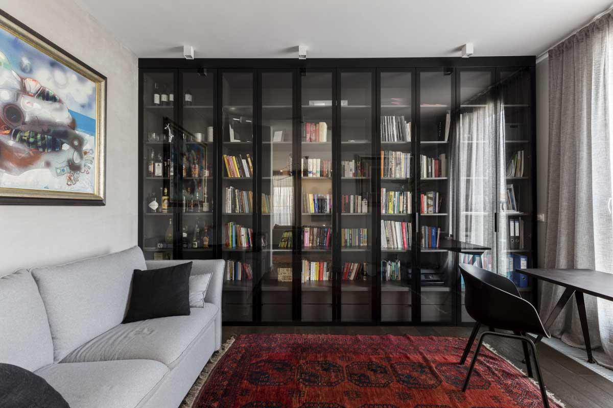Domowa biblioteczka w witrynach | proj. Dmowska Design