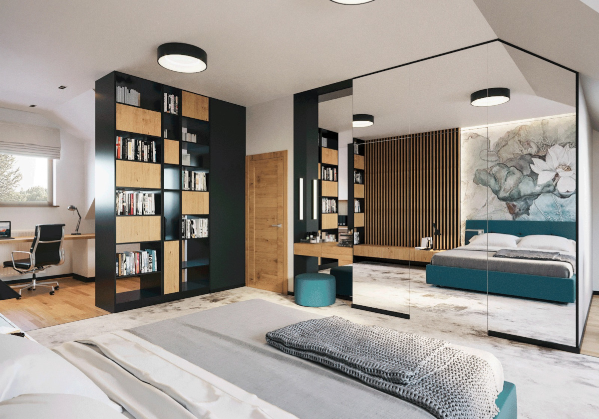 Ścianka działowa między sypialnią a gabinetem w formie regału na książki  proj. Motyw Design
