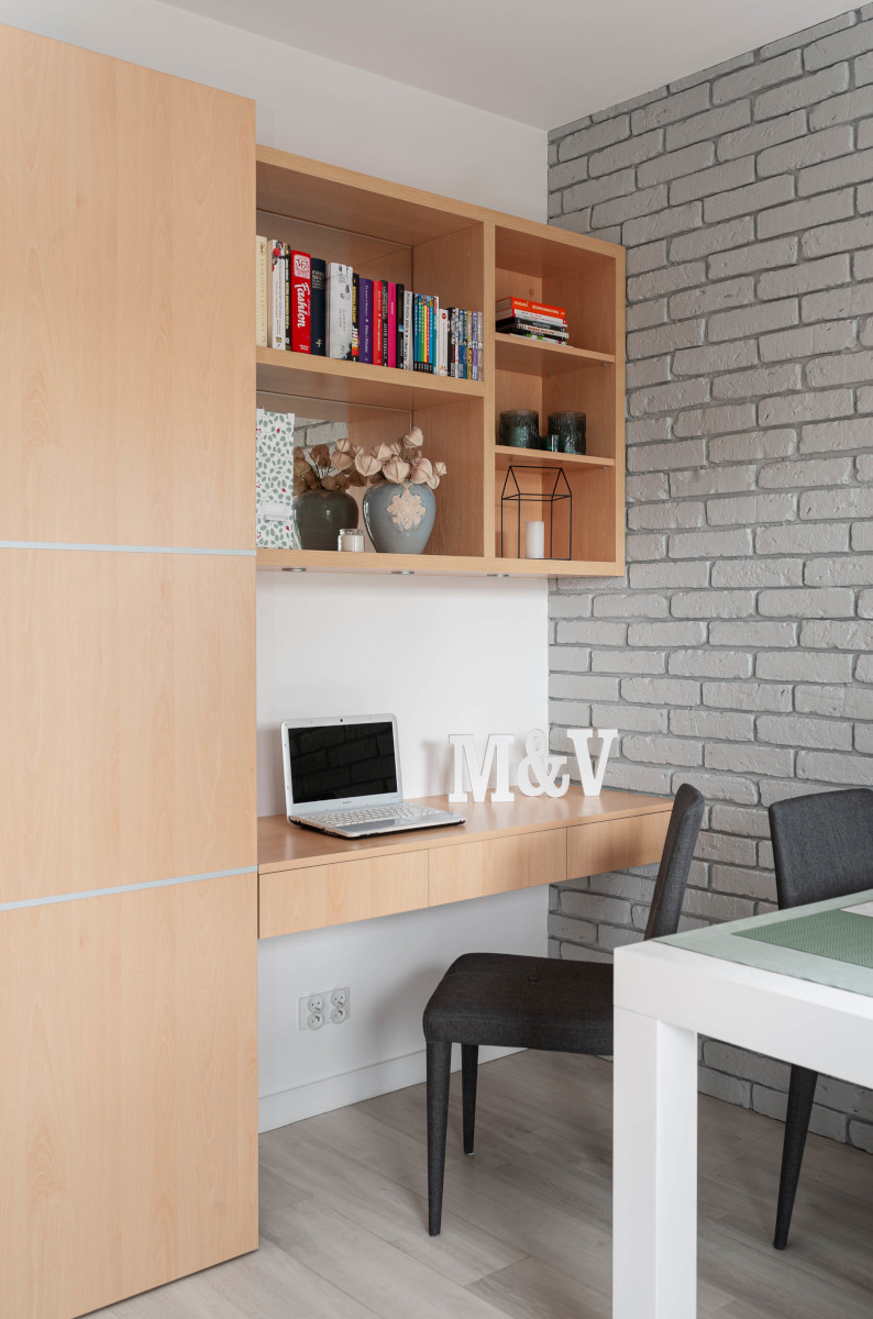 Miejsce do pracy w salonie 16 m2 | proj. Pracownia Wielkie Rzeczy Izabela Olszewska, zdj. joannakorczynska.pl