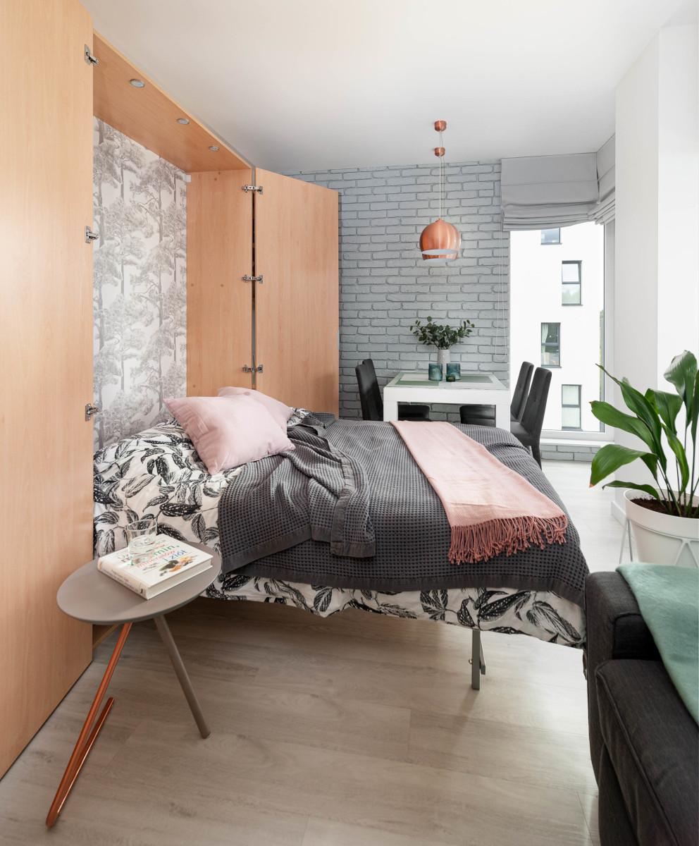 Aranżacja małego mieszkania o powierzchni 44 m2 | proj. Pracownia Wielkie Rzeczy Izabela Olszewska, zdj. joannakorczynska.pl