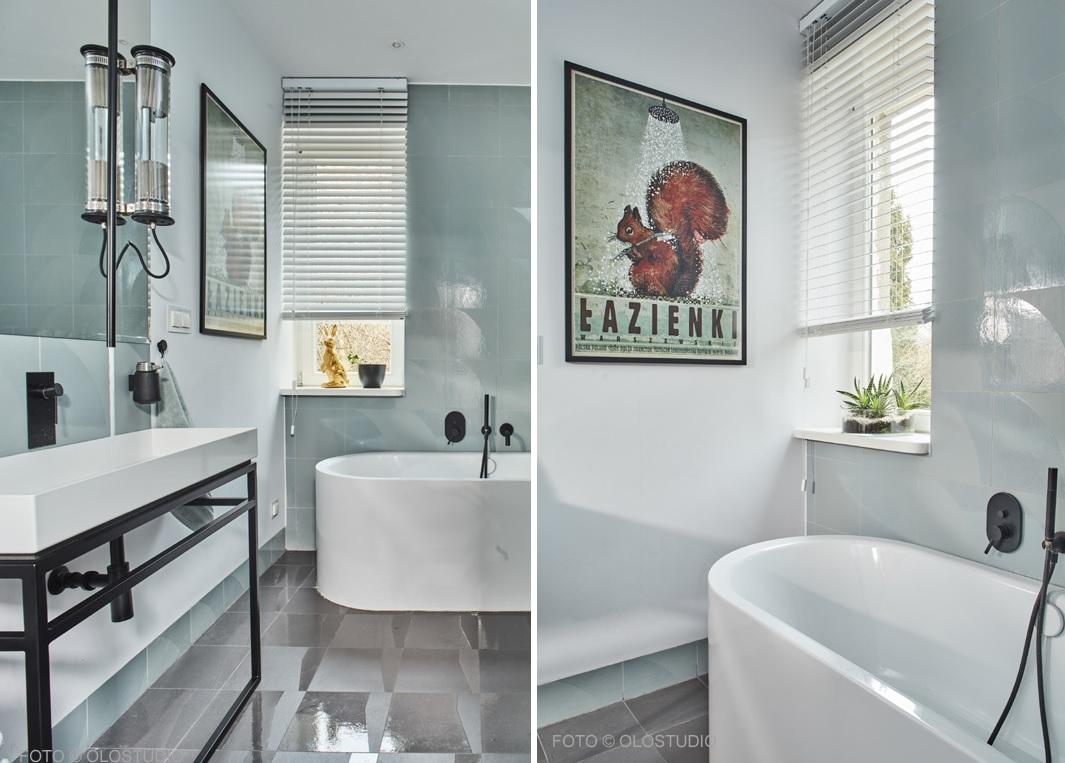 Projekt łazienki Hanna Kłyk w łazience na ścianie i na podłodze płytki Mutina Numi