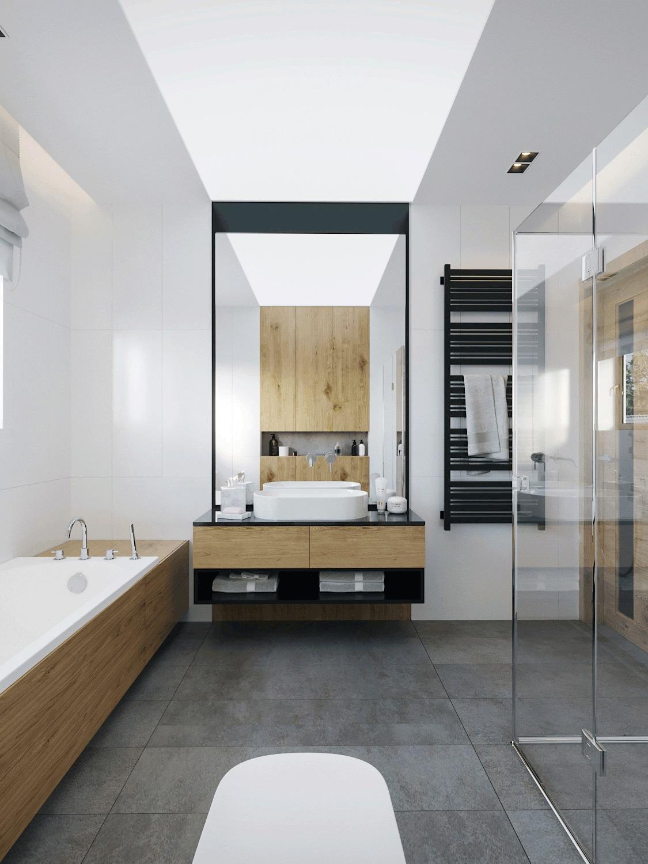 Szarości I Drewno W Domu Jednorodzinnym Proj Motyw Design
