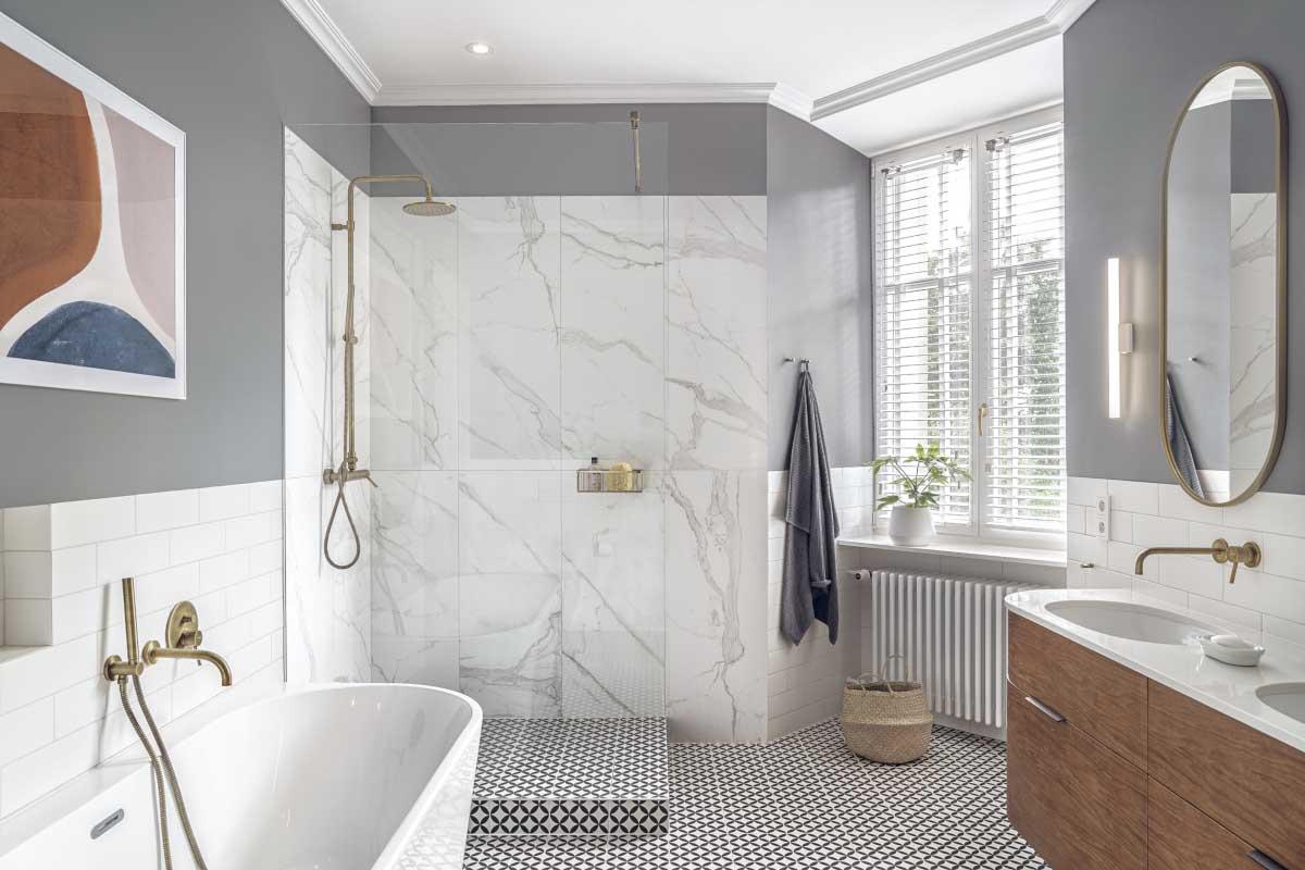 Salon kąpielowy częściowo urządzony w naszych showroomie Intenity Home w Warszawie | proj. luumo, zdj. Tom Kurek