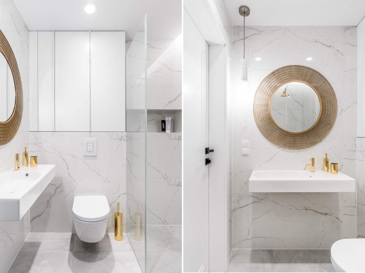 Marmurowa strefa wc ze złotymi akcentami | proj. Anna Maria Sokołowska Architektura Wnętrz, zdj. Fotomohito