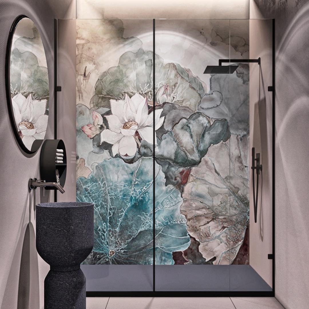 Mała łazienka z tapetą od Wall & Deco z serii WET SYSTEM
