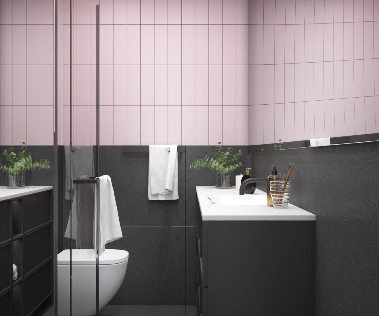 Szaro - różowa strefa wc | proj. ZEN Interiors