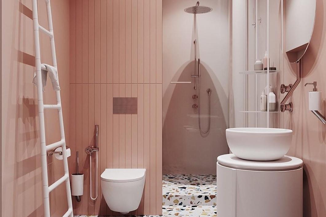 Nietypowa różowa łazienka z motywem lastryko
