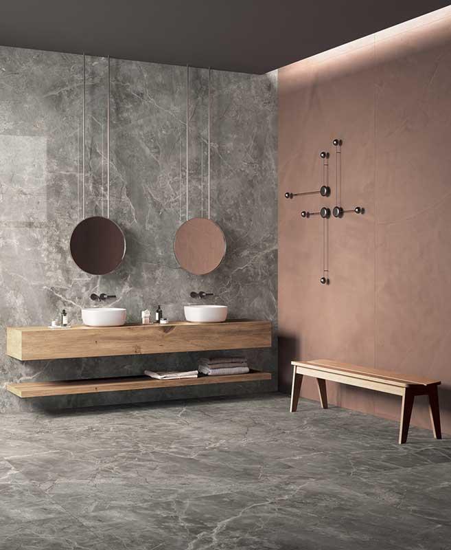 Płytki wielkoformatowe w łazience są gwarantem spektakularnego efektu (na zdjęciu płytki marki Fondovalle, które są dostępne w naszych showroomach)