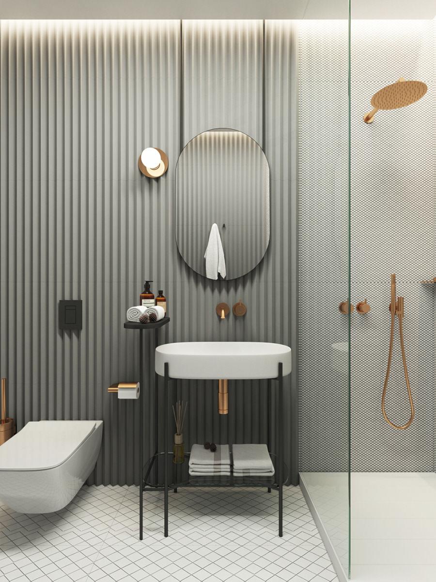 Złota armatura sprawia, że łazienka nabiera elegancji i wyrafinowania
