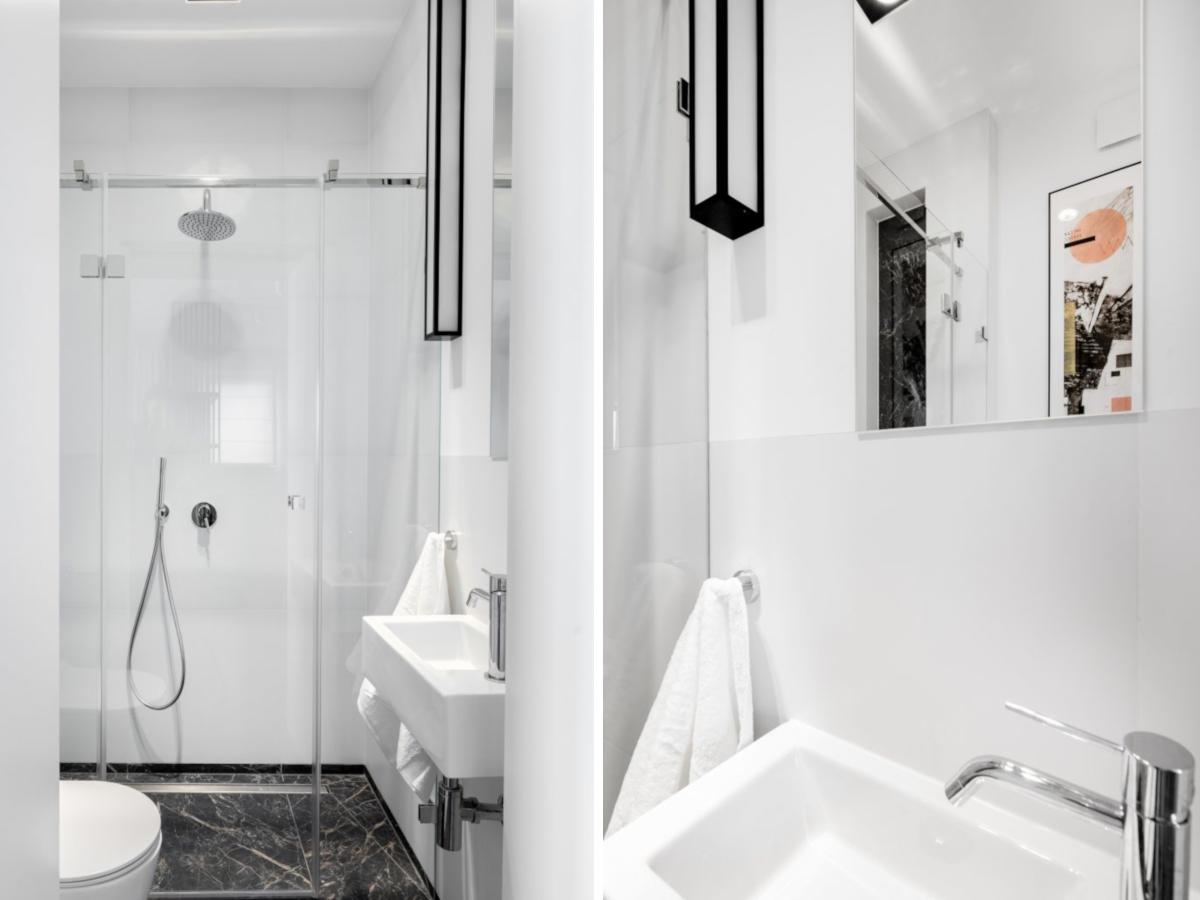 Mała łazienka z prysznicem | proj. Dziurdzia Projekt