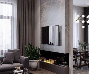 Ściana marmurowa szara w salonie