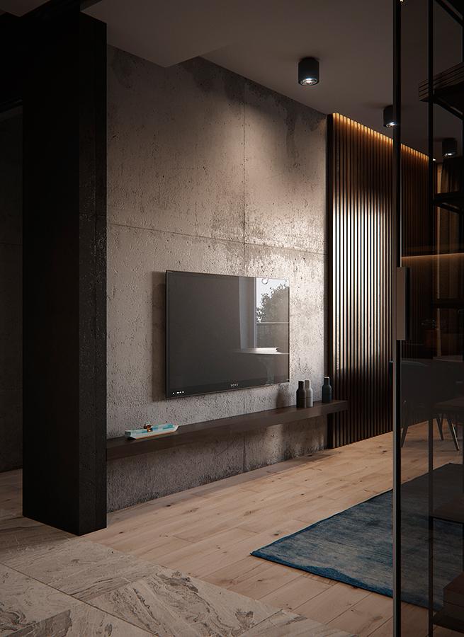 Ściana telewizyjna w niewielkim salonie - płytki wielkoformatoe