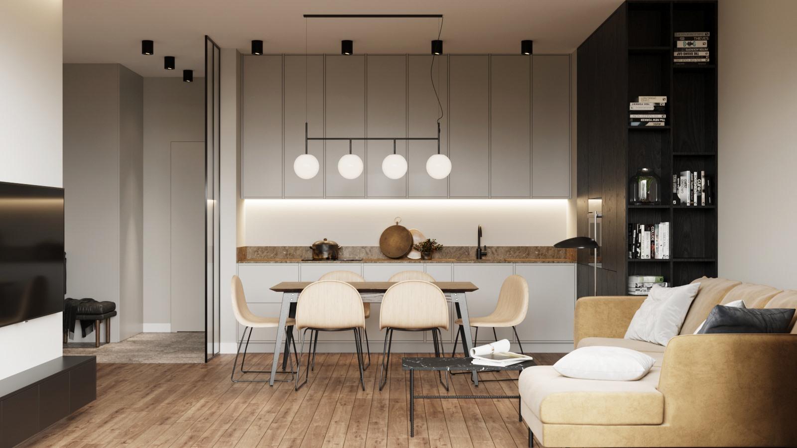 Otwarta szara kuchnia zaprojektowana przez pracownię architektoniczną OIKOI