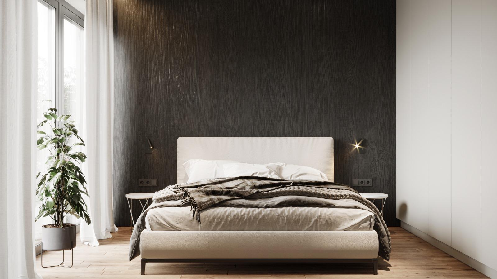 Sypialnia  zaprojektowana przez pracownię architektoniczną OIKOI