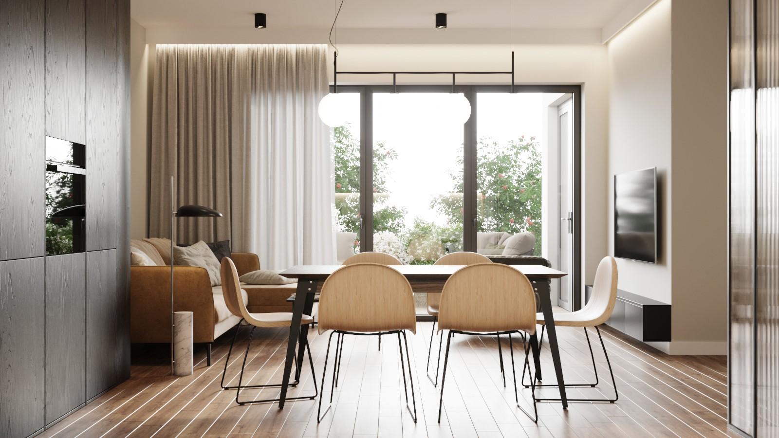 Jadalnia z salonem  zaprojektowana przez pracownię architektoniczną OIKOI