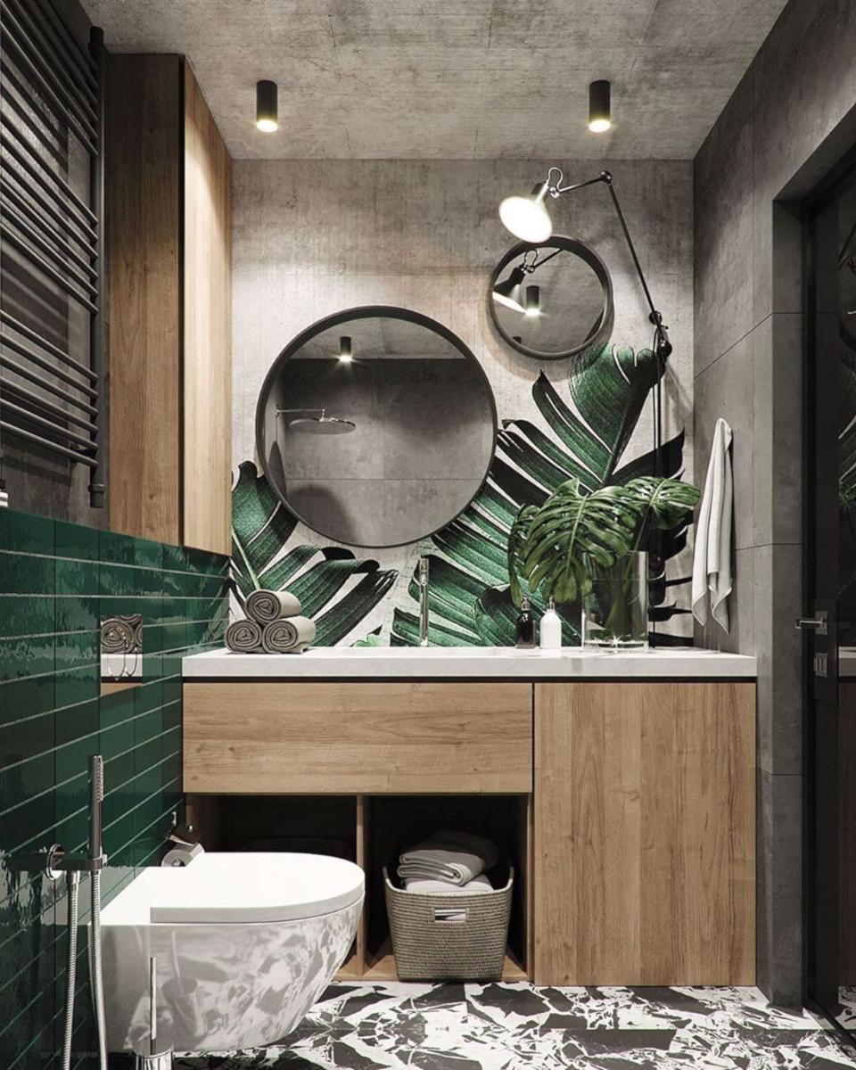 Zieleń, roślinność pod różnymi postaciami i drewno to nieodłączny element aranżacji łazienki z naturą w tle