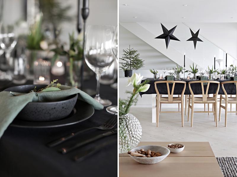 Czarny obrus pięknie komponuje się z bożonarodzeniową dekoracją stołu