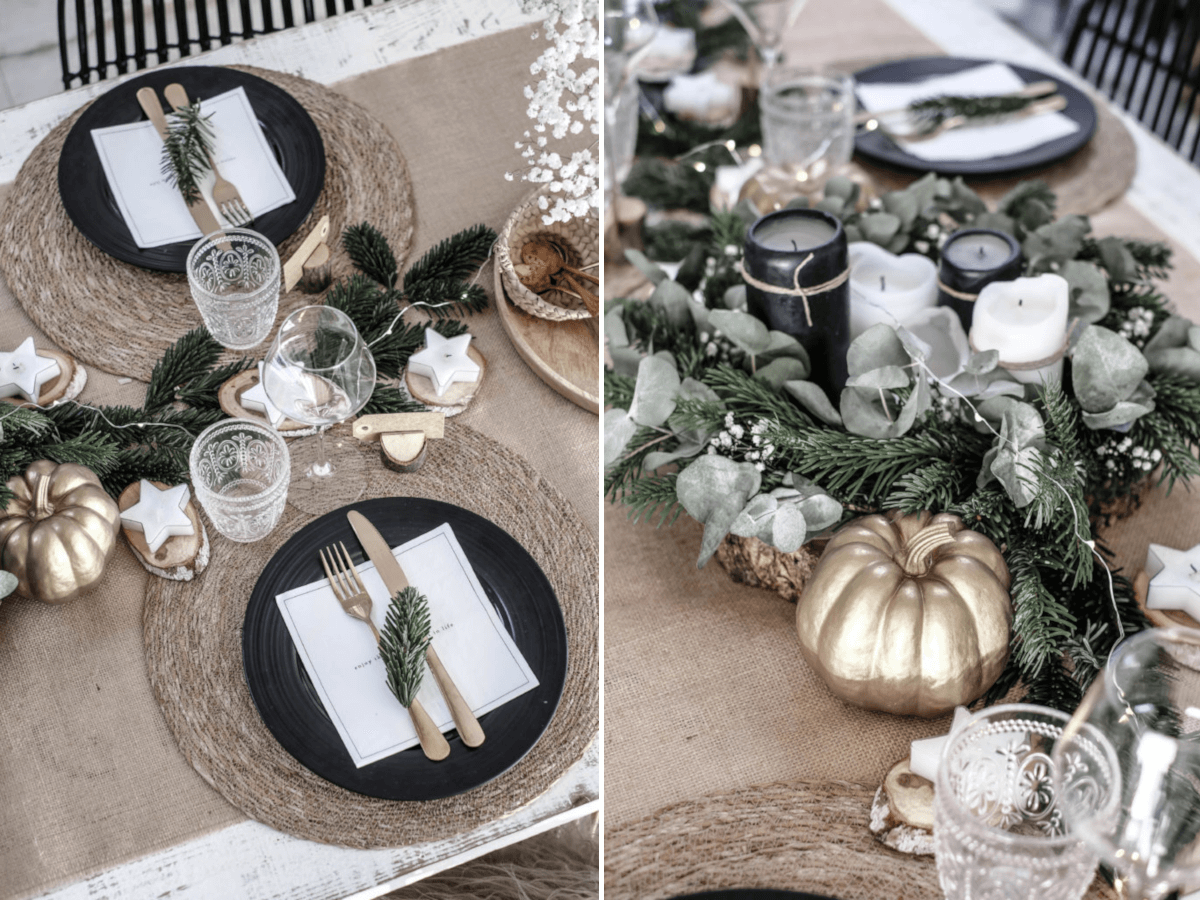 Propozycja bożonarodzeniowej dekoracji stołu | źródło: Pinterest
