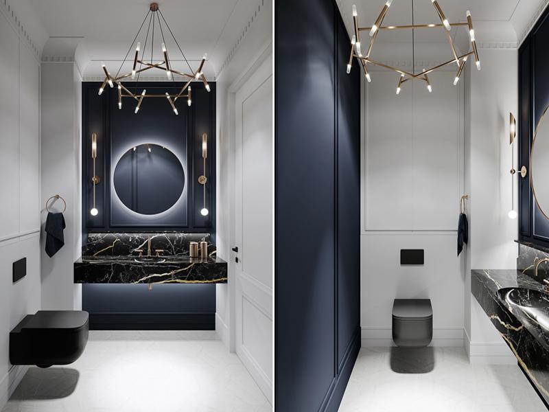 Wyrafinowana strefa wc z granatem, czarnym marmurem i złotem w roli głównej