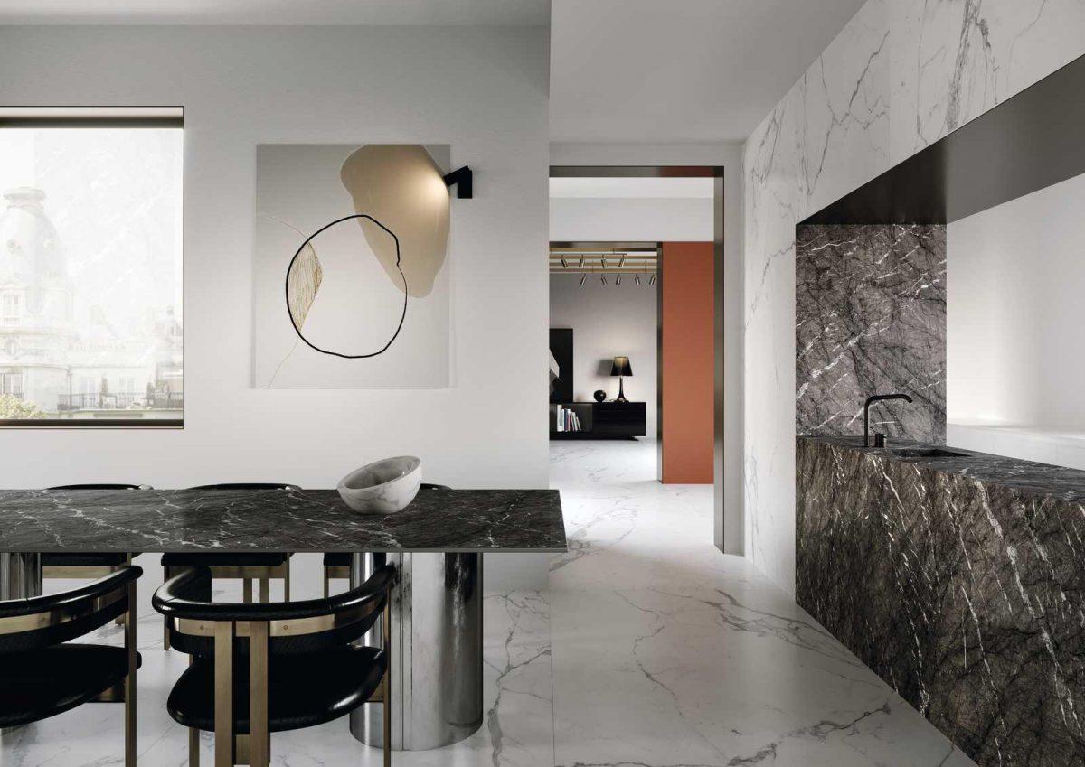 Wyspa i stół kuchenny płytki Marazzi dostępne w Internity Home