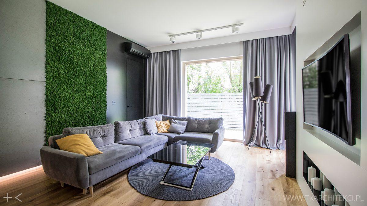 Ściana zieleni w projekcie TK Architekci