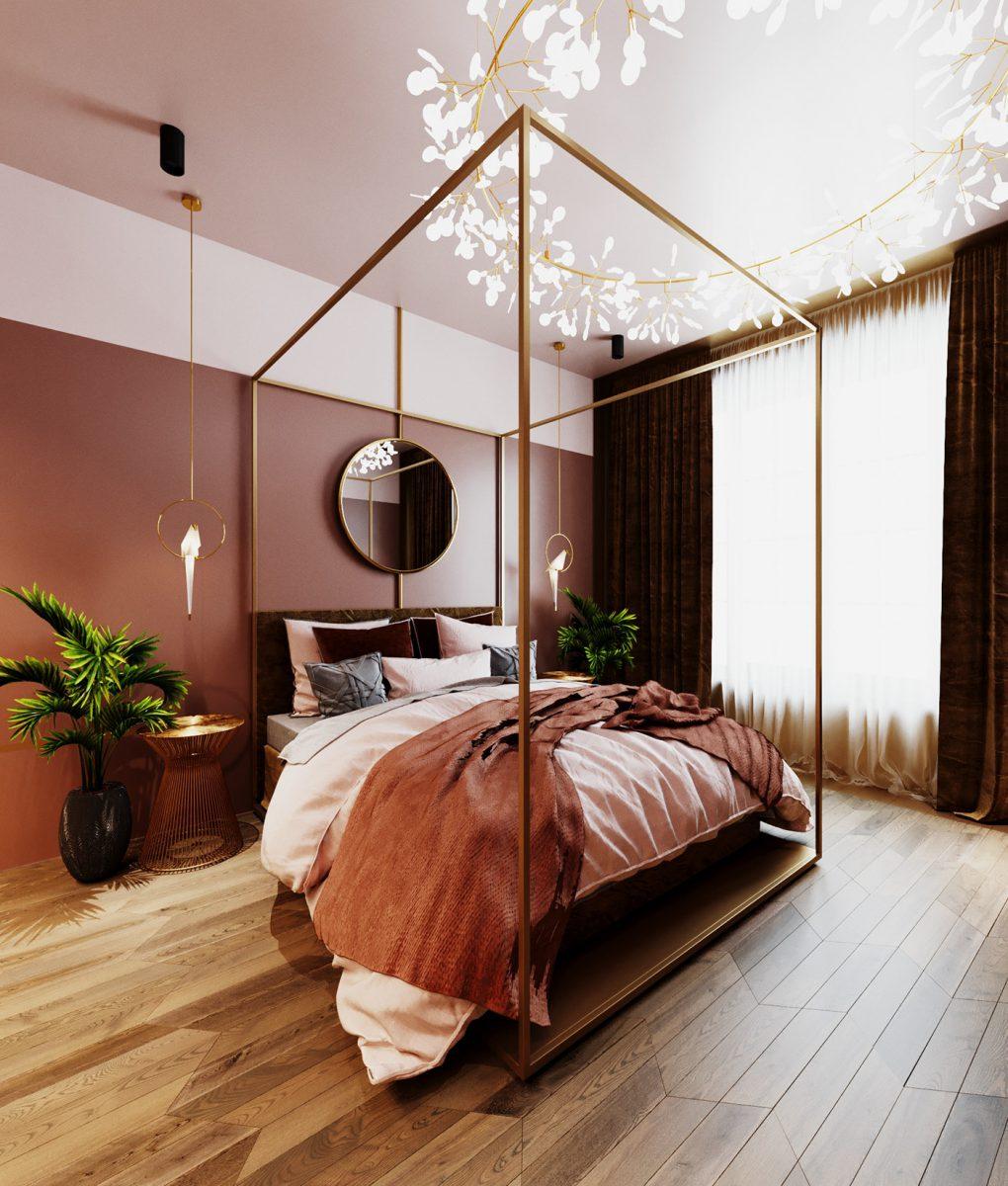 Sypialnia w ciepłych relaksujących kolorach