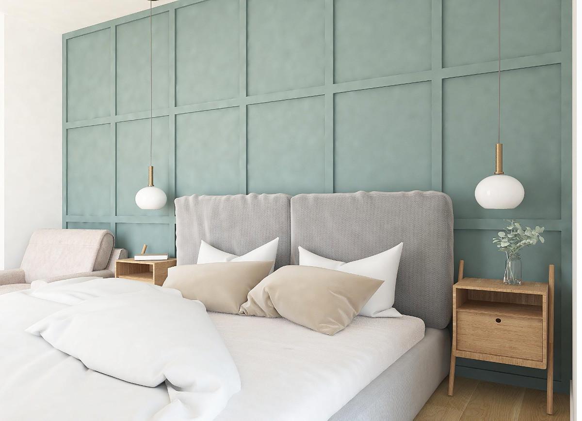 Ciekawa ściana w sypialni za łóżkiem | proj. Comfy Life