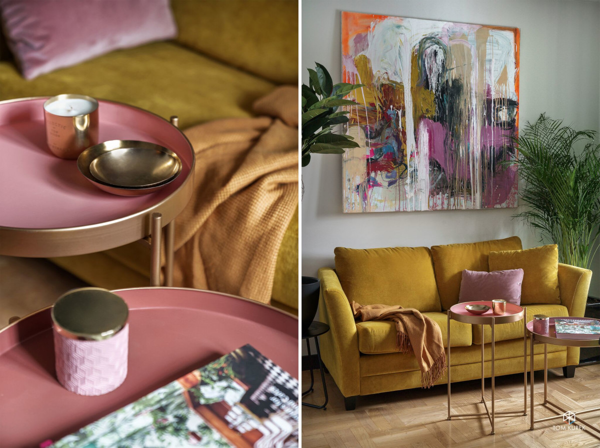 Wnętrze zaprojektowane przez arch. Martę Matelier w kolorach z palety Pantone Sping/Summer 2020 (zdj. Tom Kurek)