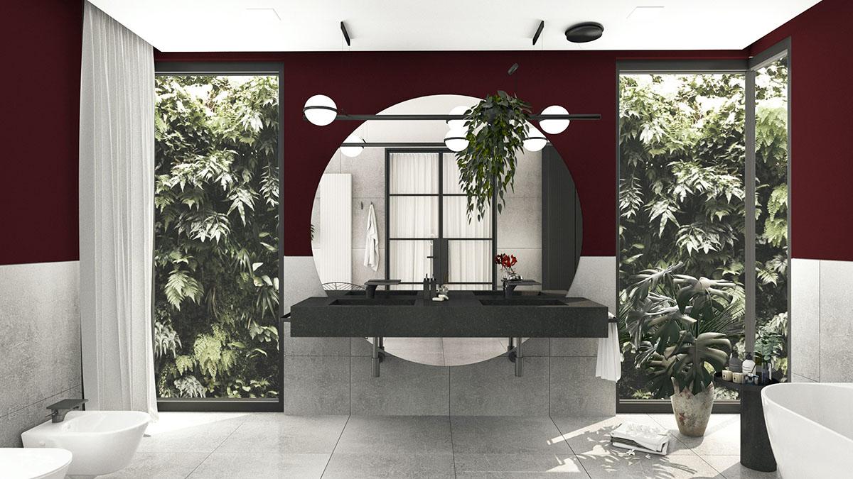 Płytki imitujące beton Point marki Soloss w projekcie łazienki | proj. Paula Stachowiak Studio