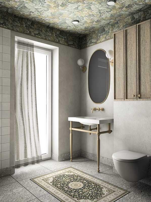 Łazienka z tapetą na suficie | proj. Formea Studio