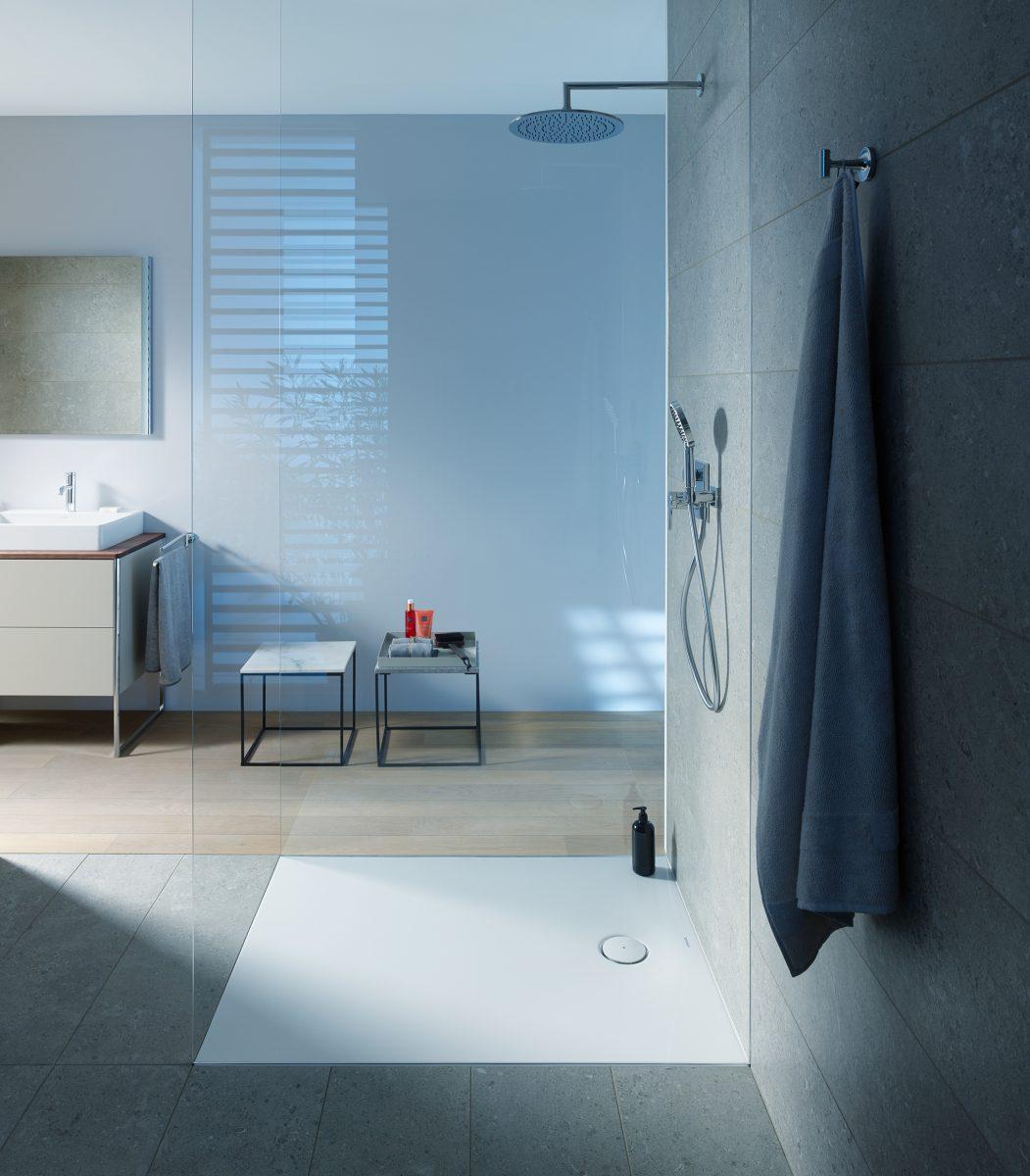 Brodzik Tempano marki Duravit w aranżacji nowoczesnej łazienki