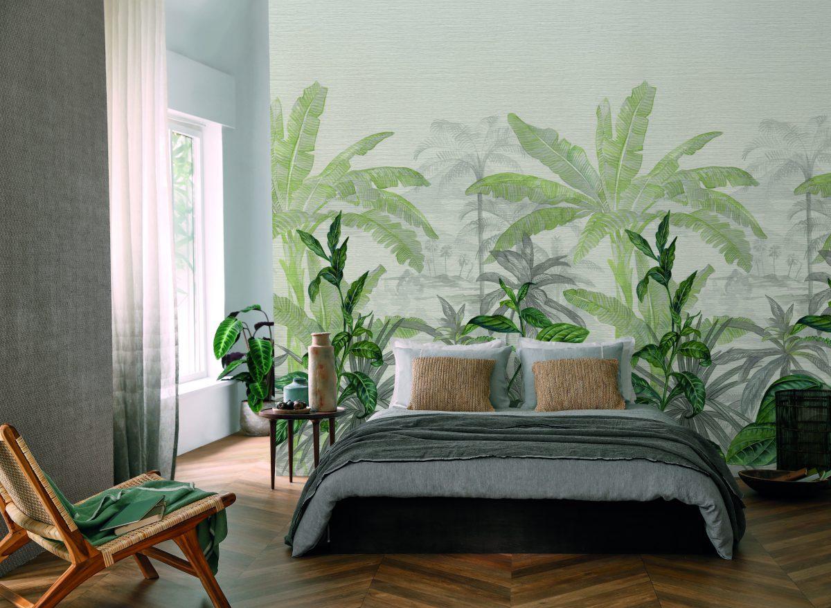 Tapeta marki Casamance w projekcie sypialni (produkt dostępny w naszych showroomach)