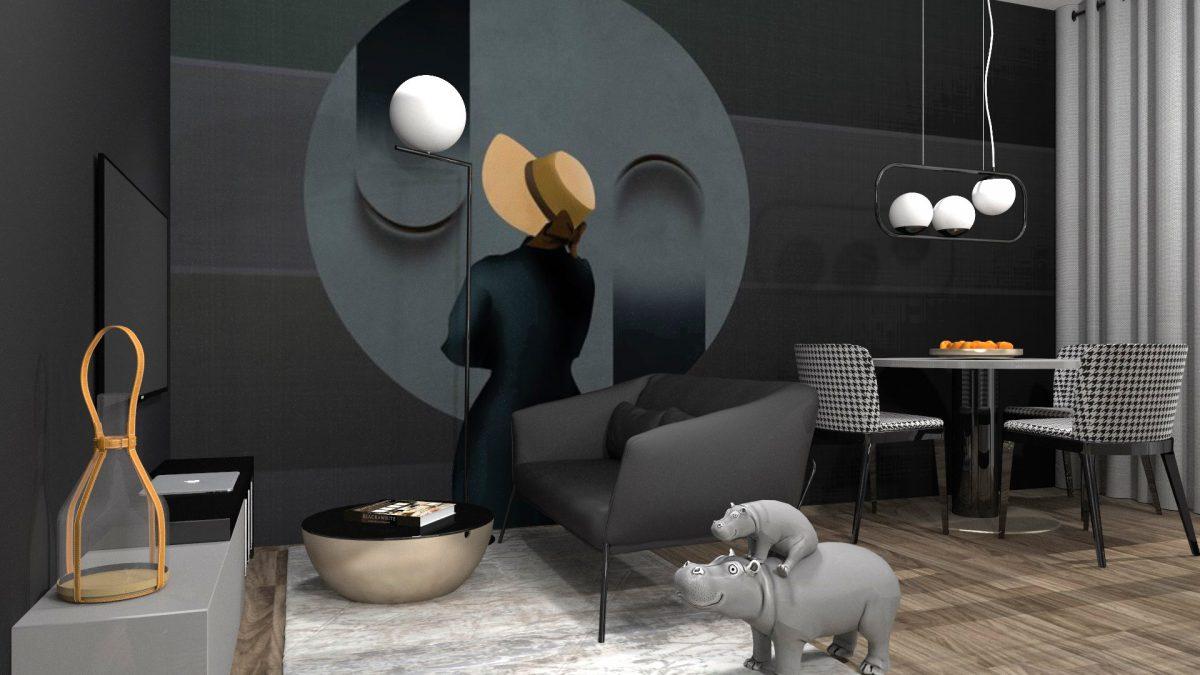 Wzór Wall & Deco w projekcie Plus Design Studio Projektowe