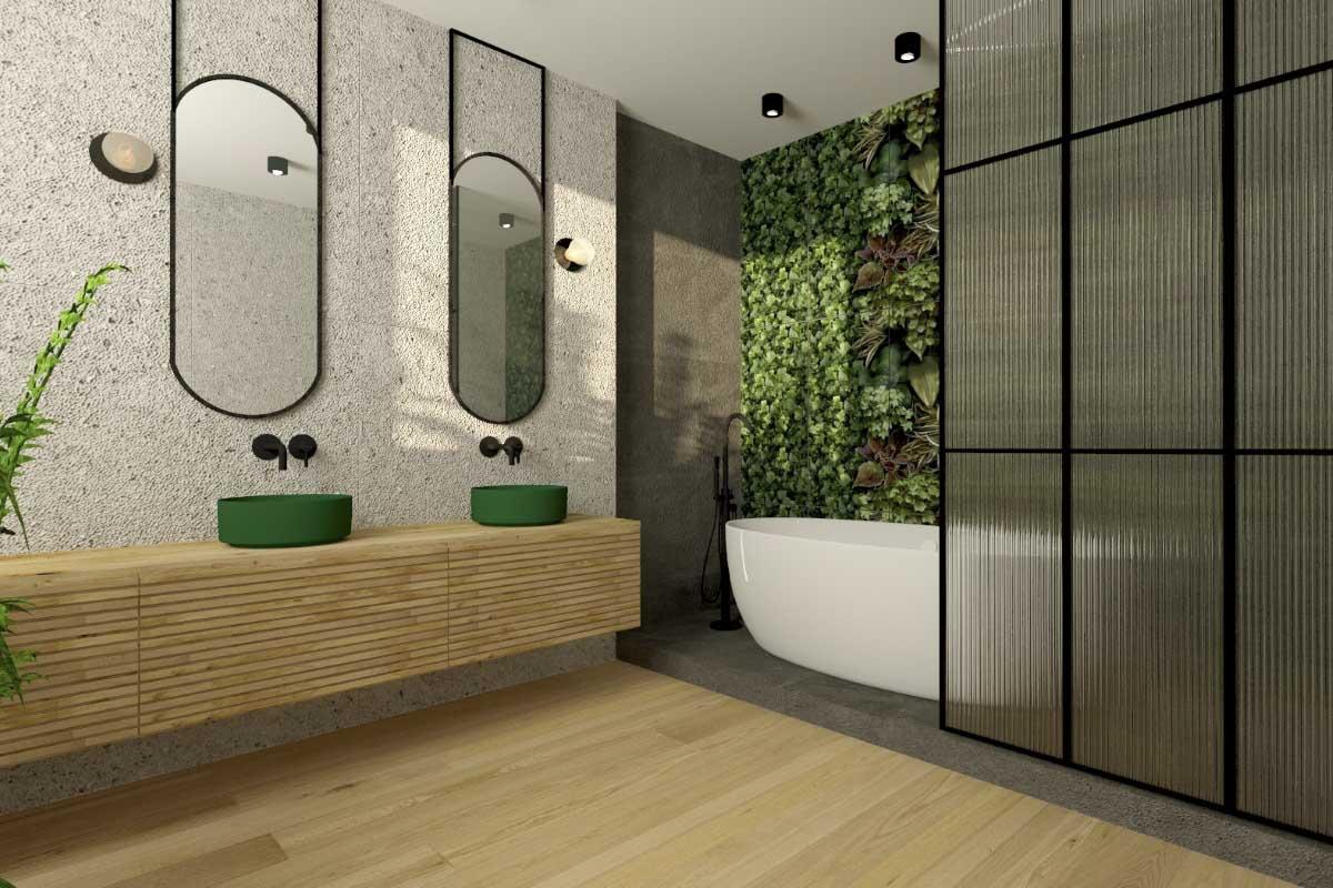 Panele winylowe Charme Parquet w projekcie łazienki   proj. Monika Pyśk